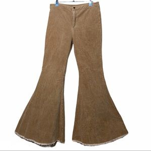 By Together Corduroy Brown/Tan Extra Flare Pants L